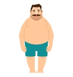 Single fat man cartoon vector