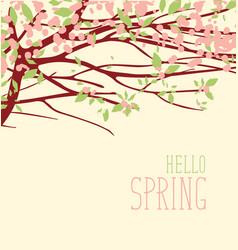 spring landscape with flowering tree and foliage vector image