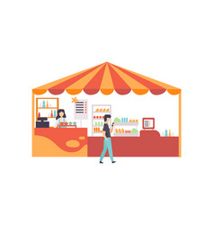 Street vendor booth with food sweets and desserts vector