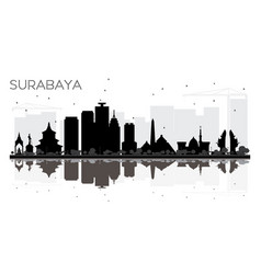 Surabaya indonesia city skyline black and white vector