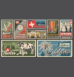 Switzerland travel swiss landmarks posters retro vector