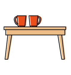 table wooden with coffee cups vector image