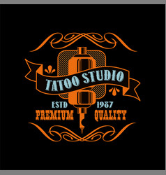 Tattoo studio logo design premium quality estd vector