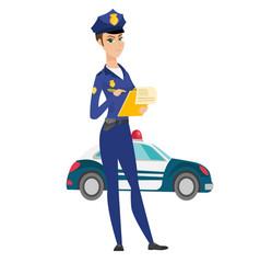 Traffic police woman writing fine bill vector