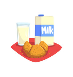 Transparent glass of fresh milk and sweet vector