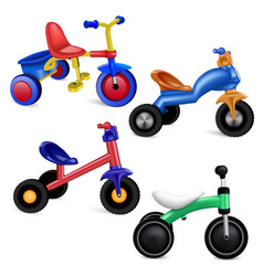 Tricycle icons set realistic style vector