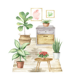 watercolor interior house with home vector image