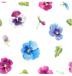 watercolor pansy flower pattern vector image