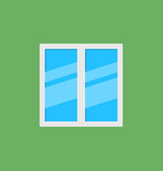 white window with blue glass flat icon vector image