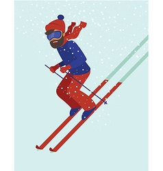Young man skiing vector image