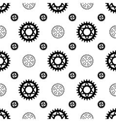 Black gears on white seamless pattern vector image vector image