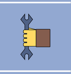 Flat icon design collection wrench in hand vector