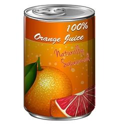 Fresh orange juice in can vector image
