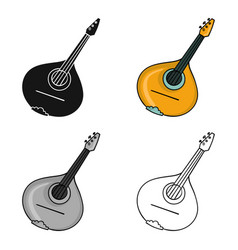 italian mandolin icon in cartoon style isolated on vector image