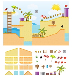 platform-game-summer-beach vector image vector image