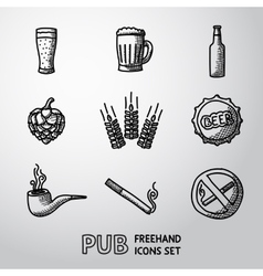 Pub beer handdrawn icons set vector image vector image