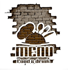 restaurant menu in the brick wall uno vector image vector image