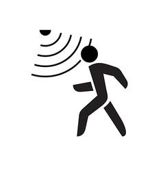 Walking man symbol with motion sensor waves signal vector image vector image
