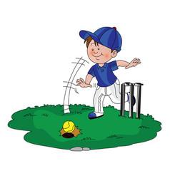 boy playing cricket vector image