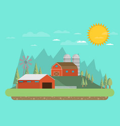 Farm flat landscape natural background organic vector