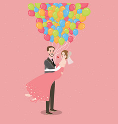 honeymoon wedding couple with baloon fly all vector image