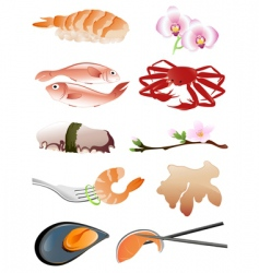 japanese food icons vector image vector image