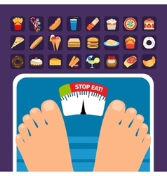 Overweight on scale concept with sweets vector image vector image