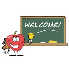 Red School Apple Ringing A Bell vector image vector image