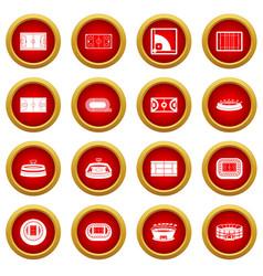 sport stadium icon red circle set vector image