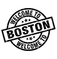 welcome to boston black stamp vector image