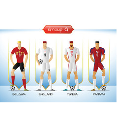 2018 soccer or football team uniform group g vector image vector image