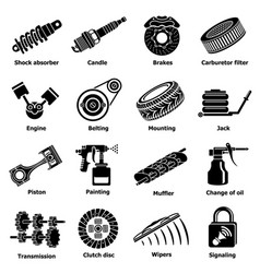 Car repair parts icons set simple style vector