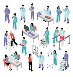Doctor nurse hospital isometric set vector