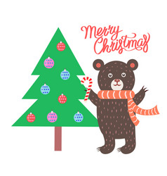 merry christmas bear and tree vector image
