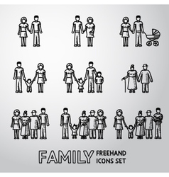 Multigenerational family freehand icons set with vector image