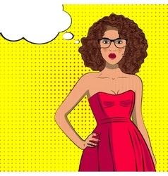 Pop art fashion curly woman with bubble sign vector image vector image