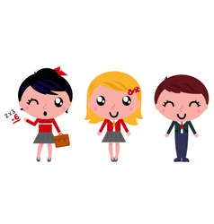 School kids set isolated on white vector image vector image