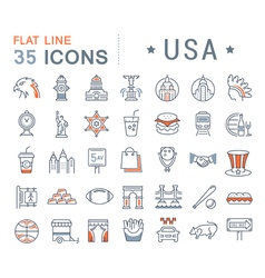 Set flat line icons usa and america vector