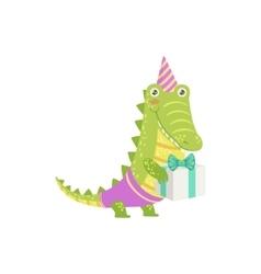 Crocodile Cute Animal Character Attending Birthday vector image