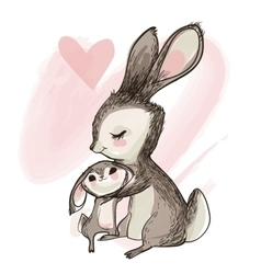 cute little hare with mom vector image vector image
