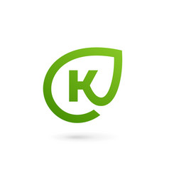 letter k eco leaves logo icon design template vector image vector image