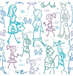 People walking seamless pattern background and vector image