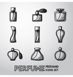 Perfume handdrawn icons set with different shapes vector image vector image