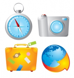 set travel icons vector image vector image