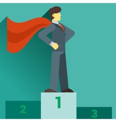 Super businessman standing on the top of the graph vector image