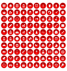 100 child center icons set red vector image