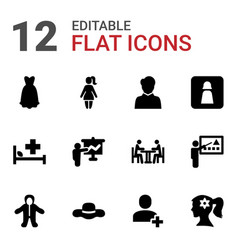12 person icons vector