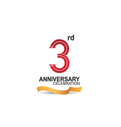 3 anniversary celebration logotype with red color vector