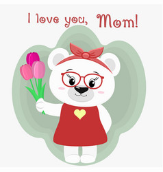 a nice polar bear holds three tulips vector image