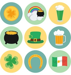 A set of flat icons on St Patricks Day vector image